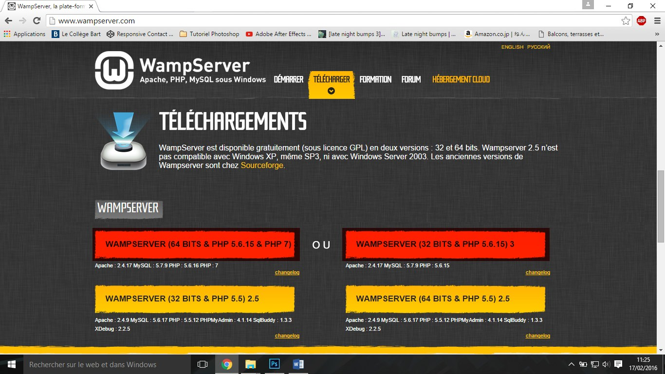 Etape1 wamp server & wordpress Wamp Server & WordPress Etape1 1