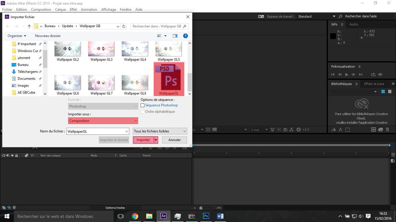 Etape2 importer composition photoshop / illustrator Importer composition Photoshop / Illustrator dans After Effect Etape2 1