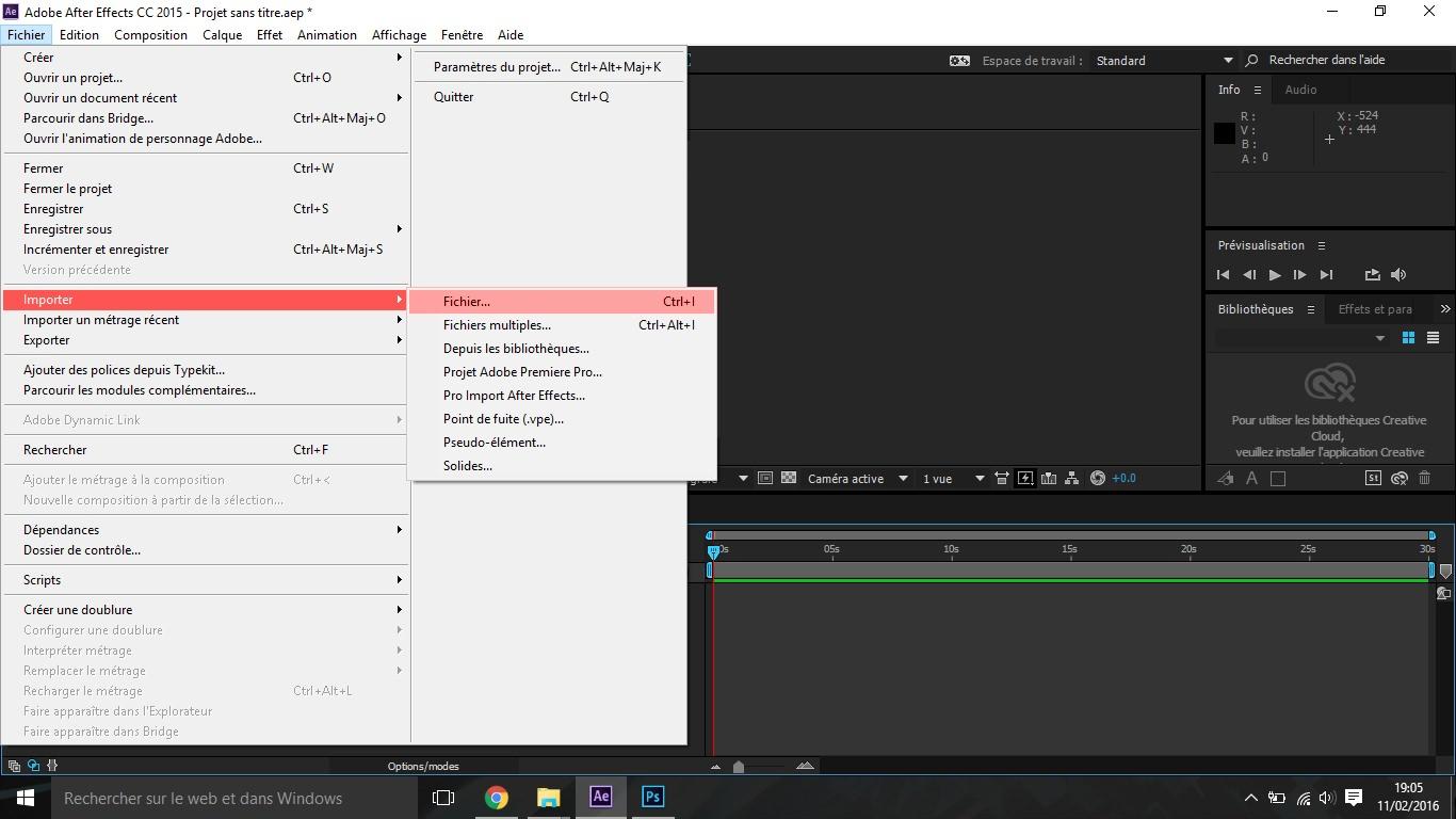 Etape3 importer composition photoshop / illustrator Importer composition Photoshop / Illustrator dans After Effect Etape3 1