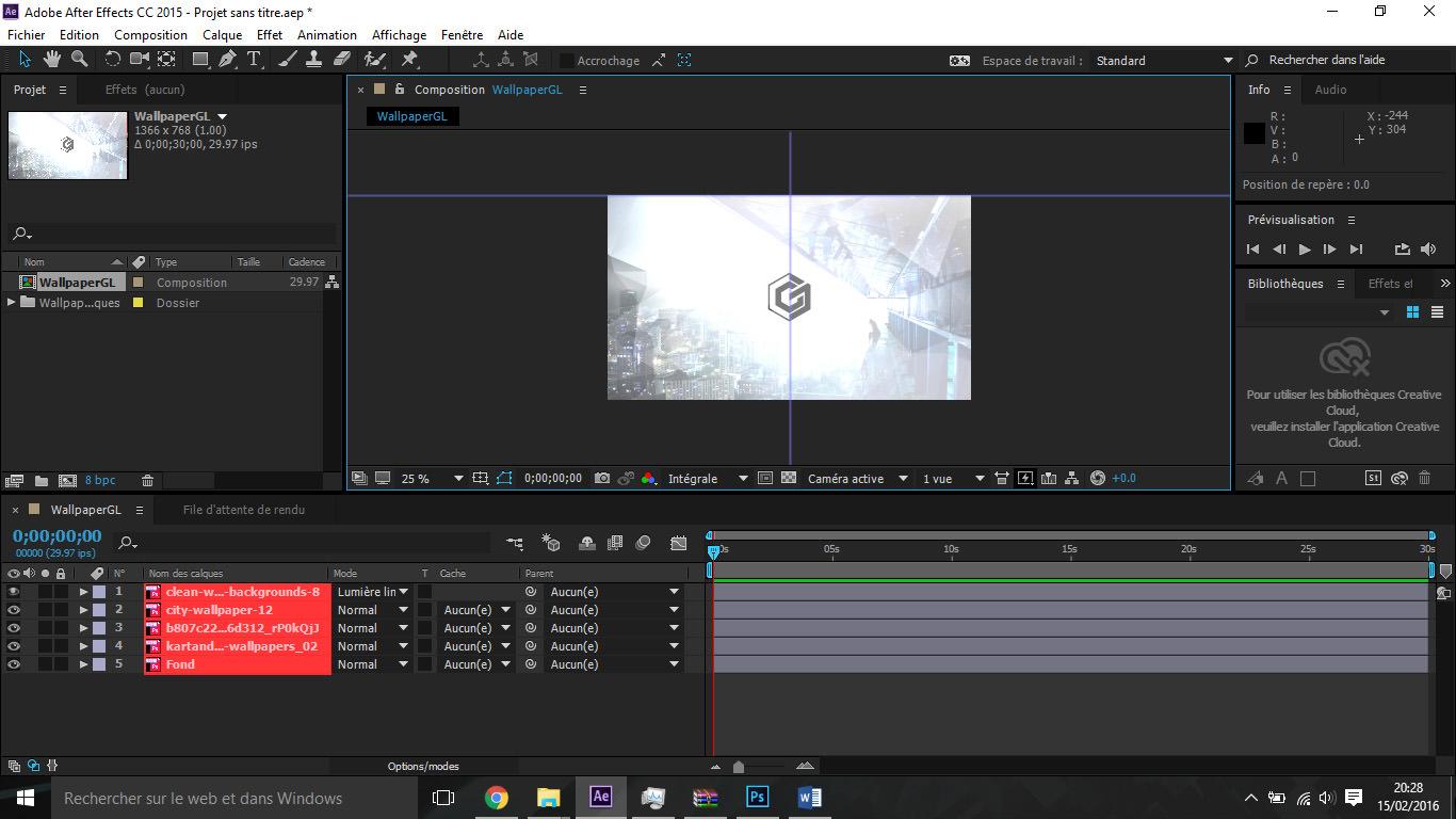 Etape6 importer composition photoshop / illustrator Importer composition Photoshop / Illustrator dans After Effect Etape6 1