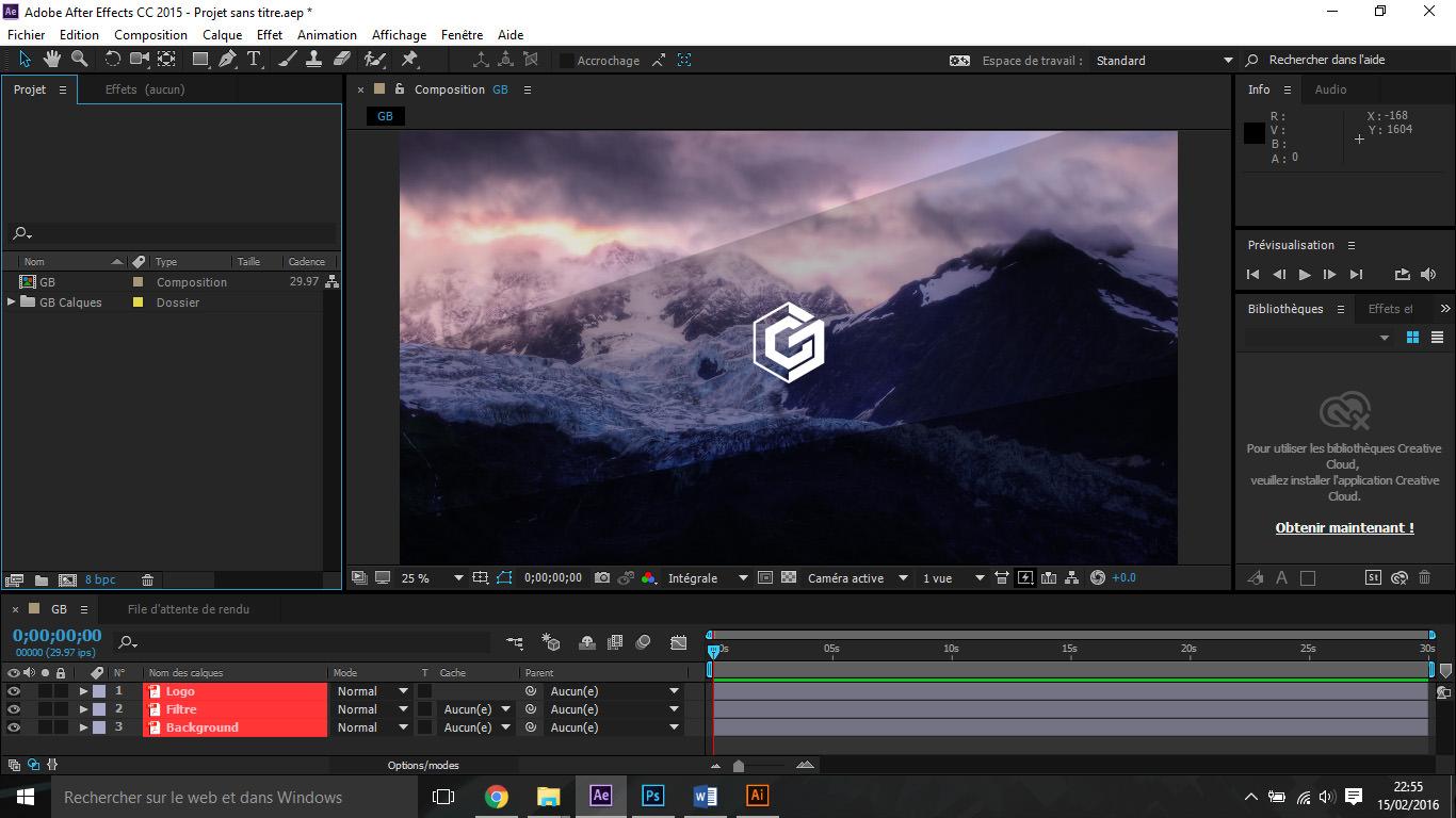 Etape7 importer composition photoshop / illustrator Importer composition Photoshop / Illustrator dans After Effect Etape7 1